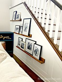 Finished board and batten accent stairway wall! Finished board and batten accent stairway wall! from Thrifty Decor Chick Staircase Wall Decor, Stairway Decorating, Hallway Wall Decor, Hallway Walls, Stair Decor, Stairway Wall Decorating, Ideas For Stairway Walls, Stairway Picture Wall, Staircase Walls