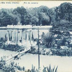 Quinta da Boa Vista: lago e templo em ruínas, 1911. Rio de Janeiro, RJ. Cartão-postal: colotipia. Editor: A. Ribeiro. Acervo FBN