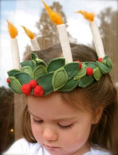 Felt Santa Lucia crown, Santa Lucia crown, winter crown with candles Swedish Christmas, Scandinavian Christmas, Christmas Holidays, Christmas Crafts, Santa Lucia, St Lucia Day, Yule, Advent Activities, Felt Crown