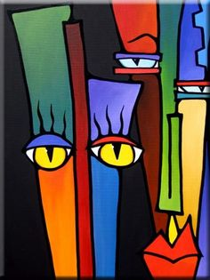 Art 'Bright Eyes - - by Thomas C. Fedro from Faces Cubist Paintings, Cubist Art, African Art Paintings, Dot Painting, Fabric Painting, Abstract Face Art, Vaporwave Art, Picasso Art, Arte Pop