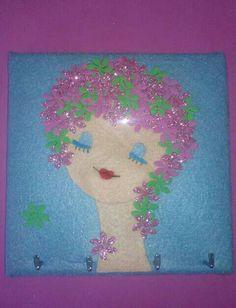 Porta-colares e brincos em feltro com flores brilhantes de eva - By Xana Pires