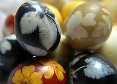 Closeup of Easter eggs made with natural dyes