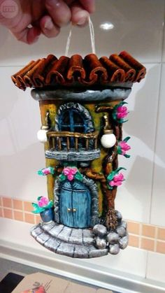 Fairy Tree Houses, Rock Painting Designs, Biscuit, Decorative Tile, Clay Tutorials, Clay Art, Painted Rocks, Diy And Crafts, Polymer Clay