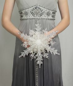 Winter Wedding Snowflake Bridal Bouqet for a Winter Wonderland Wedding #winterwedding #winterwonderland