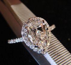 Halo Style Pear Shape Diamond Engagement Ring. BEAUTIFUL!!!