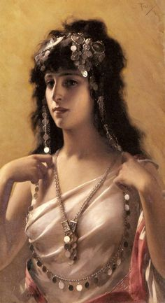An Oriental Beauty.Luis Ricardo Falero (Spanish, 1851–1896). Oil on canvas. At his best, Falero's paintings show an almost super-realist talent for depicting the female form, but many of his girls are rather coy, with an emphasis on sexiness and not much effort at a subject - pin-ups rather than high art. Falero wavers on both sides of the line between a beautiful nude and artistic girl, and an oversweet coquettish Salon painting.