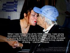Carmen Amoros kisses Comedian Actor Irwin Corey at his 100th Birthday Celebration at The Actors Temple Theatre, in New York City on July 29, 2014.  To read the magazine article click the photo.   http://carmenamorosgoldberg.com/?p=10110