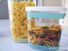 Washi tape food bins #washitape