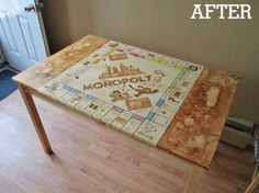 Here is something Monopoly lovers will appreciate. Sure, there are new versions of Monopoly every time we turn around, why would this one be any different you Diy Furniture Cheap, Furniture Makeover, Upcycled Furniture, Discount Furniture, Table Furniture, Painted Furniture, Flip Furniture, Furniture Cleaning, Furniture Repair