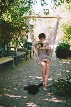 Hanging Hammock Chair // read & swing with the pet at your feet