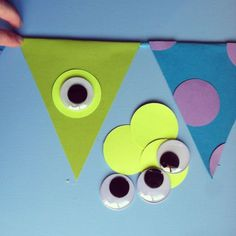 An Adorable DIY Monster Inc Banner - - The Monsters Inc photos shown in a previous post were taken from my phone months ago, simply to show some {party people} their awesome goodies that I was about to mail out for their daughter'…. Monster University Birthday, Monster 1st Birthdays, Monster Birthday Parties, First Birthday Parties, First Birthdays, Birthday Ideas, Monster University Crafts, 3rd Birthday, Monsters Inc Baby Shower