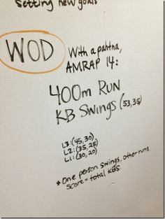 Partner WOD: AMRAP 14 minutes 400m run, KB swings (#53/35)