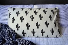 DIY Cactus Pillow for my bed - Hand Stamped Fabric tutorial - Patchwork Cactus