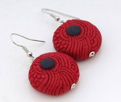 tribal red and black OOAK round hanging earrings.