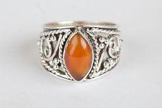 Carnelian Jewellery – Carnelian Gemstone Handmade Sterlin Silver Ring  – a unique product by ArtisanJewellery on DaWanda