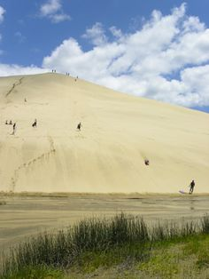 Surfing down a sand dune