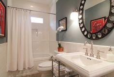 ... , Console sink, Kacy pedestal sink, Vinyl floors, Wall sconce More