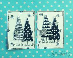 """Black & White Christmas ATC set...  Môjaktuálny príspevok na ScrapArt.cz   prináša """"inšpiráciu"""" v podobe pokusu o simple clean nad šenca  mixed media techniky. Ponúkam ajk..."""