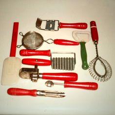Red Handled Kitchen Utensils by FlyingIrish on Etsy, $29.65