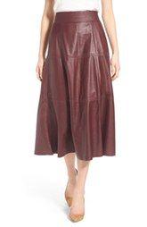 Olivia Palermo + Chelsea28 Leather Midi Skirt