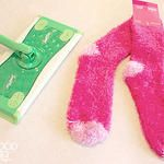 """Make Your Own Reusable """"Swiffer"""" Pads and Cleaning Solution Love this! 50/50 vinegar & water + a drop or two of dish soap (and maybe a few drops of essential oil!) to replace Swififer Wet Jet solution, and cheap fluffy Chenille socks from the dollar store (or those unmatched pairs in the sock drawer...) to replace the dry pads (maybe the wet, too?)!"""