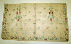 Apron Date: first quarter 18th century Culture: British Medium: silk, linen Accession Number: 36.128.1