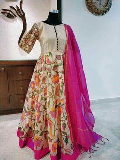 Long Gown Dress, Anarkali Dress, Saree Gown, Long Frock, Ikkat Dresses, Kalamkari Dresses, Brocade Dresses, Indian Designer Outfits, Designer Dresses