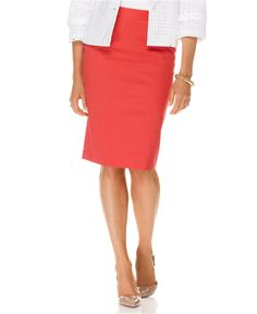 coral pencil skirt for bridesmaids. They wear their own top