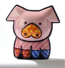 Romero Britto Pearle the Pig Miniature Pop Art Figurine 331386 New