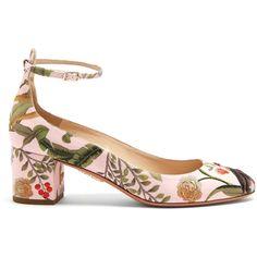 Aquazzura Aquazzura for de Gournay embroidered pumps (13,470 MXN) ❤ liked on Polyvore featuring shoes, pumps, heels, aquazzura, pink multi, embellished heel shoes, patterned pumps, pink block heel shoes, pink pumps and heel pump