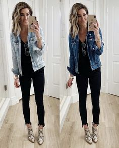 Leopard Shoes Outfit, Black Leggings Outfit, Booties Outfit, Legging Outfits, Outfit Jeans, Leggings Fashion, Light Jeans Outfit, Denim Jacket Outfit Winter, Jean Jacket Outfits