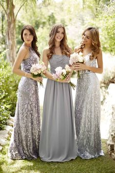 (Dress on left) A floor-length sequin bridesmaid dress with a halter top, available in two colors. Affordable designer bridesmaid dresses to buy or rent at Vow To Be Chic. Metallic Bridesmaid Dresses, Sparkly Bridesmaids, Designer Bridesmaid Dresses, Wedding Bridesmaid Dresses, White Wedding Dresses, Charcoal Grey Bridesmaid Dresses, Grey Dresses, Bridesmaid Accessories, Wedding White