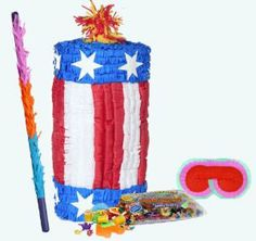 """Firecracker Pinata Party Pack Including Pinata, Pinata Candy and Toy Filler, Buster and Blindfold by Pinata. $45.50. Includes (1) firecracker shaped Pinata. Includes approximately 2 pounds of Candy and Toys. Caution: not recommended for children under 3 years of age. Includes one hard Plastic Pinata Buster that measures approximately 30"""". Caution: use only under adult supervision. Includes one Blindfold with Elastic String. Measures 7"""" long x 5.5"""" high."""