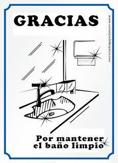 Listado con los avisos o letreros más habituales en PDF para imprimir y que podemos necesitar en nuestra casa, baño y oficina para indicar normas de aseo y limpieza.