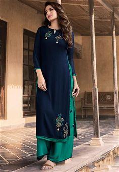 Chudidhar Neck Designs, Churidhar Designs, Neck Designs For Suits, Simple Anarkali Suits, Punjabi Suit Neck Designs, Silk Kurti Designs, Stylish Girl Pic, Navy Blue Color, Georgette Sarees
