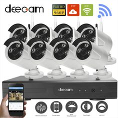 Deecam H.264  NVR Wireless CCTV System Surveillance Wireless HD 960P Outdoor 8CH WIFI  Network Security Camera System