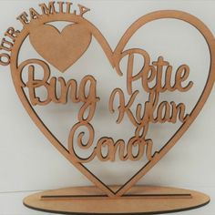 Laser Cut Wooden and Acrylic Decor. Gifts for all Occasions. - Our Family Hearts Wooden Decor, Small Heart, Wooden Hearts, Silver Glitter, Personalized Gifts, Design, Personalised Gifts, Silver Sequin