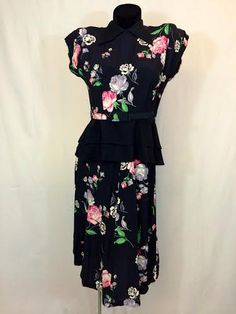 Vintage 1940s Floral Peplum Dress by InTheRoughFashion on Etsy
