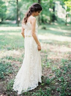 Shop Gossamer vintage dress in Birmingham Alabama forest by the creek bridal session styled by Lesley Lau. Photo by Brushfire Photography. Session with Ginny Au.