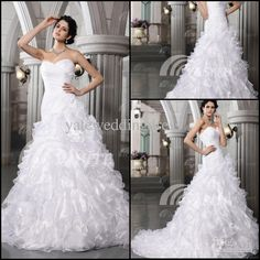 Wholesale Bridal Dress - Buy 2013 Sweetheart A Line Organza Ruffle Mermaid Beaded Sequin Court Lace Up Bridal Gown Wedding Dress, $181.82 | DHgate