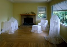 Ghoast Furniture - Cover Furniture Item with wrap and drape with Starch-soaked gauze bandages or cheesecloth