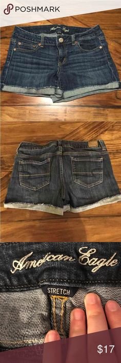 american eagle size 10 stretch jean shorts size 10 medium/dark wash short shorts. perfect condition American Eagle Outfitters Shorts Jean Shorts