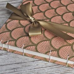 Wedding Guest Book, Art Deco in Papaya and Gold