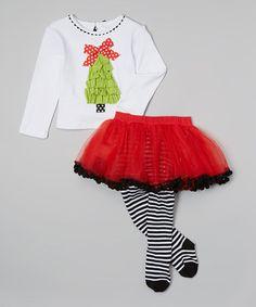 Look at this #zulilyfind! White Tree Top & Skirted Tights - Infant, Toddler & Girls #zulilyfinds