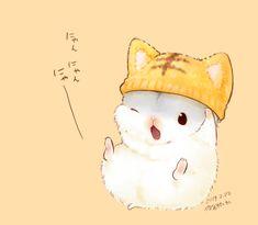 Cute Kawaii Animals, Cute Animal Drawings Kawaii, Cute Drawings, Hamster Wallpaper, Cute Cat Wallpaper, Anime Nerd, Anime Cat, Anime Animals, Baby Animals