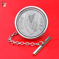 1967 Irish Ireland 3 Pence Harp Coin Silver Plated Tie Tac Tack Pin NEW - Groom fashion accessories (*Amazon Partner-Link)