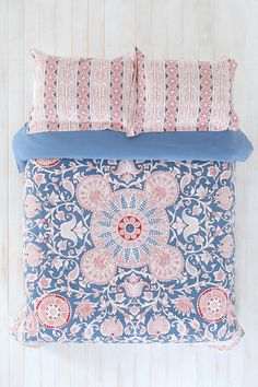 Duvet Cover-Urban Outfitters. Love the French blue and unique patterns.