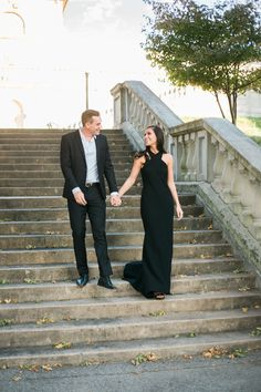 Elegant St Louis Engagement Compton Hill Water Tower Sunset Stone Stairs Mo Wedding