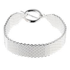 Vintage+Boutique+Women's+Brass+Base+Silver+Plated+Woven+Mesh+Toggle+Bracelet
