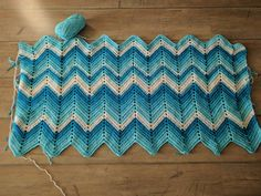 Learning how to crochet, my first attempt to make a Chevron ripple blanket.